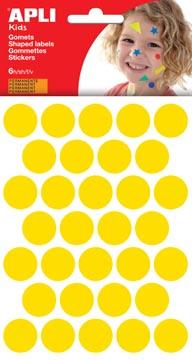 Apli Kids stickers, cirkel diameter 20 mm, blister met 180 stuks, geel