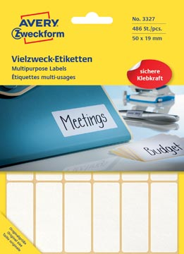 Avery Zweckform 3327 universele etiketten ft 50 x 19 mm (b x h), 486 etiketten, wit