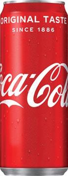 Coca-Cola frisdrank, sleek blik van 33 cl, pak van 30 stuks