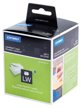 Dymo etiketten LabelWriter ft 89 x 36 mm, wit, 2 x 260 etiketten