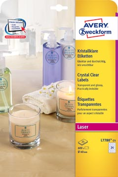 Avery transparante Crystal Clear etiketten diameter 40 mm, 600 etiketten, 24 per vel
