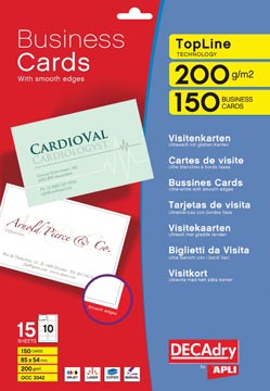 Decadry visitekaarten TopLine 150 kaartjes (10 kaartjes ft 85 x 54 mm per A4), ronde hoeken