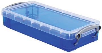 Really Useful Box pennenbakje 0,55 liter, transparant blauw