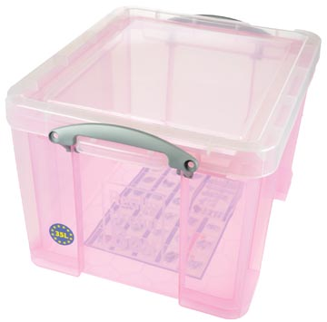 Really Useful Box opbergdoos 35 liter, transparant roze